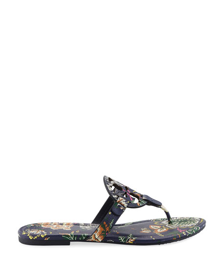 Miller Medallion Floral-Print Leather Flat Thong Sandals