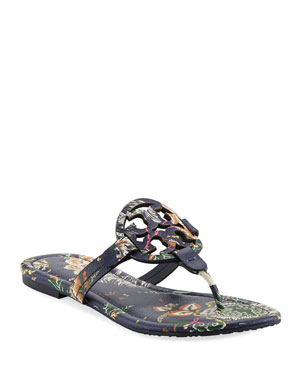 6b91e924a7396 Tory Burch Miller Medallion Floral-Print Leather Flat Thong Sandals