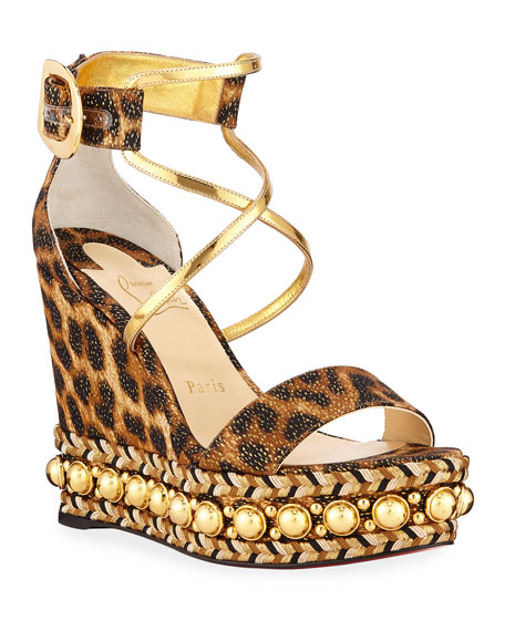 Christian Louboutin Chocazeppa Leopard Wedge Red Sole Espadrille