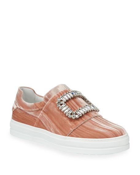 fa240cfe18 Roger Vivier Sneaky Viv Strass Stripe Velvet Platform Sneakers ...