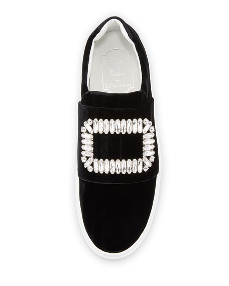 Sneaky Viv Strass Stripe Velvet Platform Sneakers