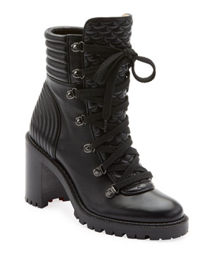 4adbf9a05d5 Christian Louboutin Mad Lace-Up Leather Block-Heel Hiker Boots
