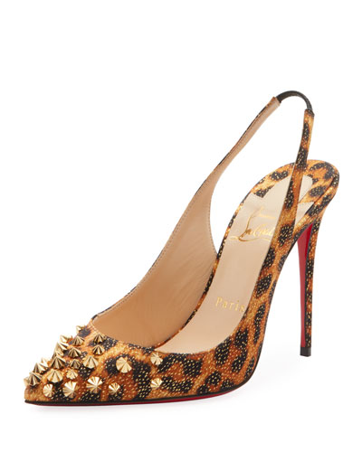 Drama Sling 100mm Spike Leopard Red Sole Pumps
