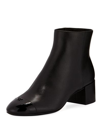 Shelby Leather Block-Heel Booties
