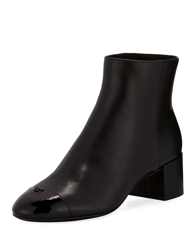 f2f282e9f34ec0 Tory Burch Shelby Leather Block-Heel Booties