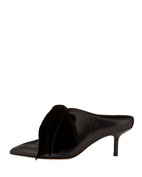 Clara Leather Mules with Velvet Bow