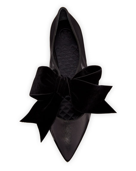 Clara Ballet Flats with Large Velvet Bow