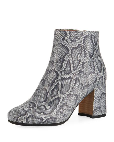 Troy Printed Leather Block-Heel Booties, Pewter
