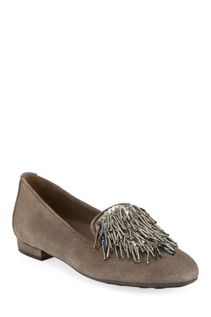 Sesto Meucci Kamile Embellished Suede Loafers, Taupe