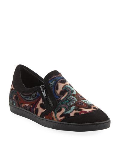 Frida Novel Paisley-Print Velvet Sneakers