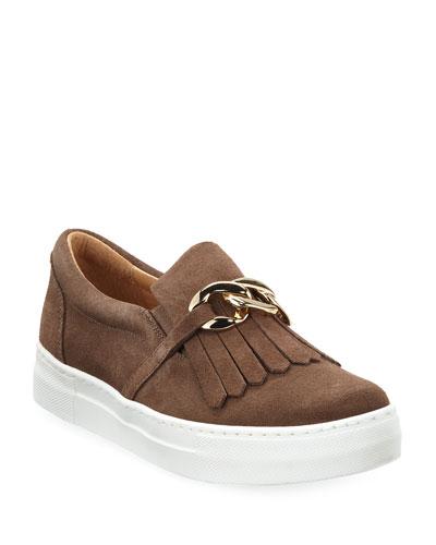 Calyce Novel Kiltie Sneakers, Taupe