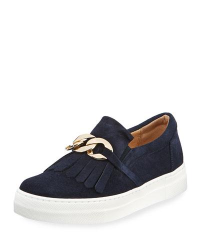Calyce Novel Kiltie Sneakers, Navy
