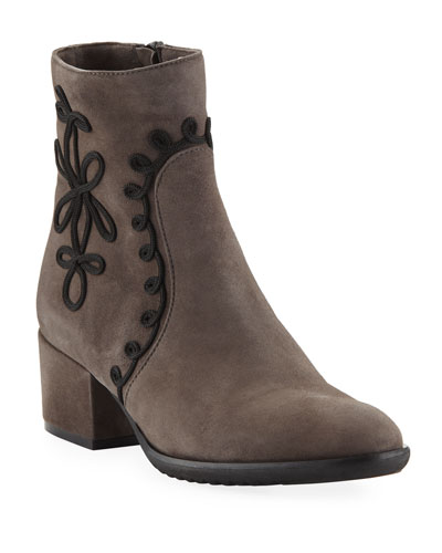 Fenny Embellished Suede Booties, Taupe