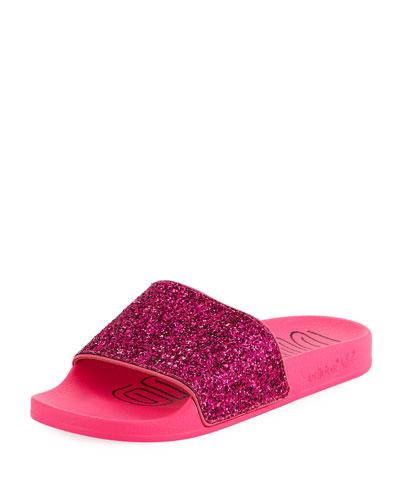 Adilette Glitter Vinyl Pool Slide Sandals
