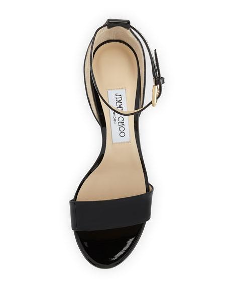 Edina Patent Leather Ankle-Wrap Sandals