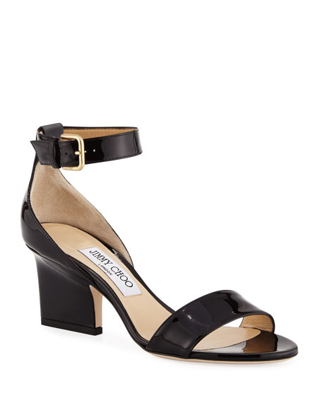 Jimmy Choo Edina Patent Leather Ankle-Wrap Sandals