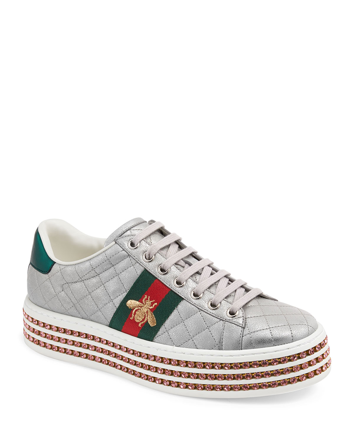 2b3088f3d2a Gucci Quilted Crystal-Platform Sneakers