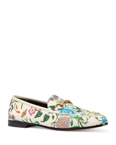 Floral Canvas Flat Loafers in Bianco