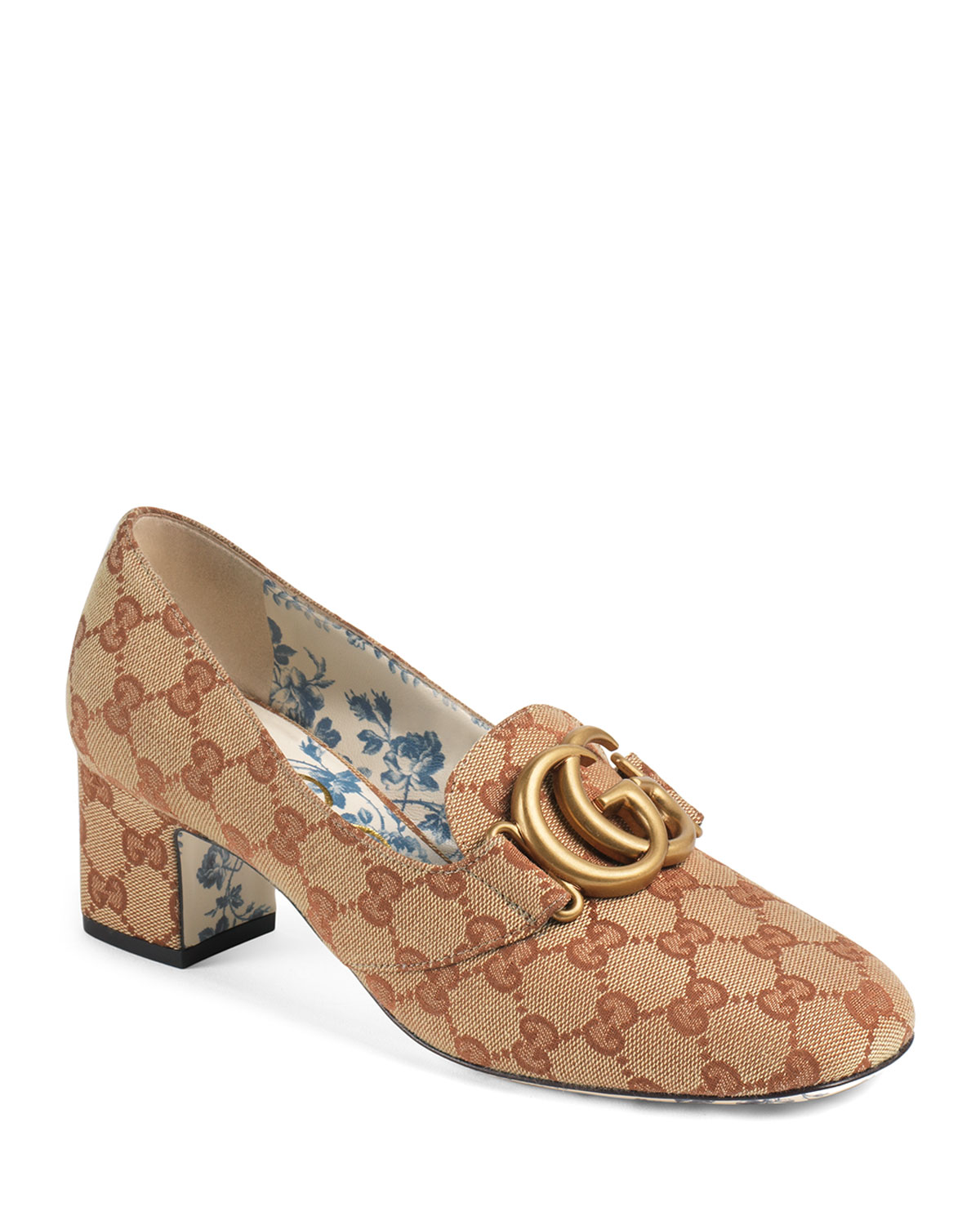 d21798603c0 Gucci Original GG Canvas Block-Heel Loafer Pumps