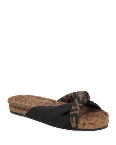Twisted Satin Espadrille Slide Sandals