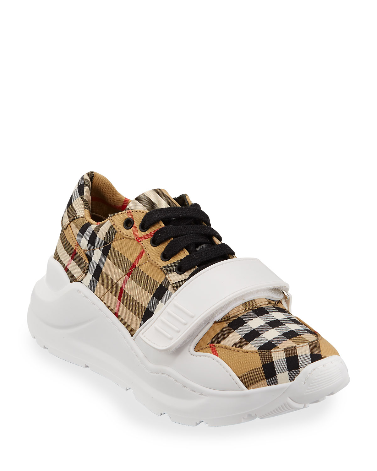 a153ce363ae0 Burberry Regis Check Low-Top Sneakers with Exaggerated Sole