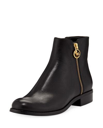 Jaycie Flat Vachetta Leather Zip Booties