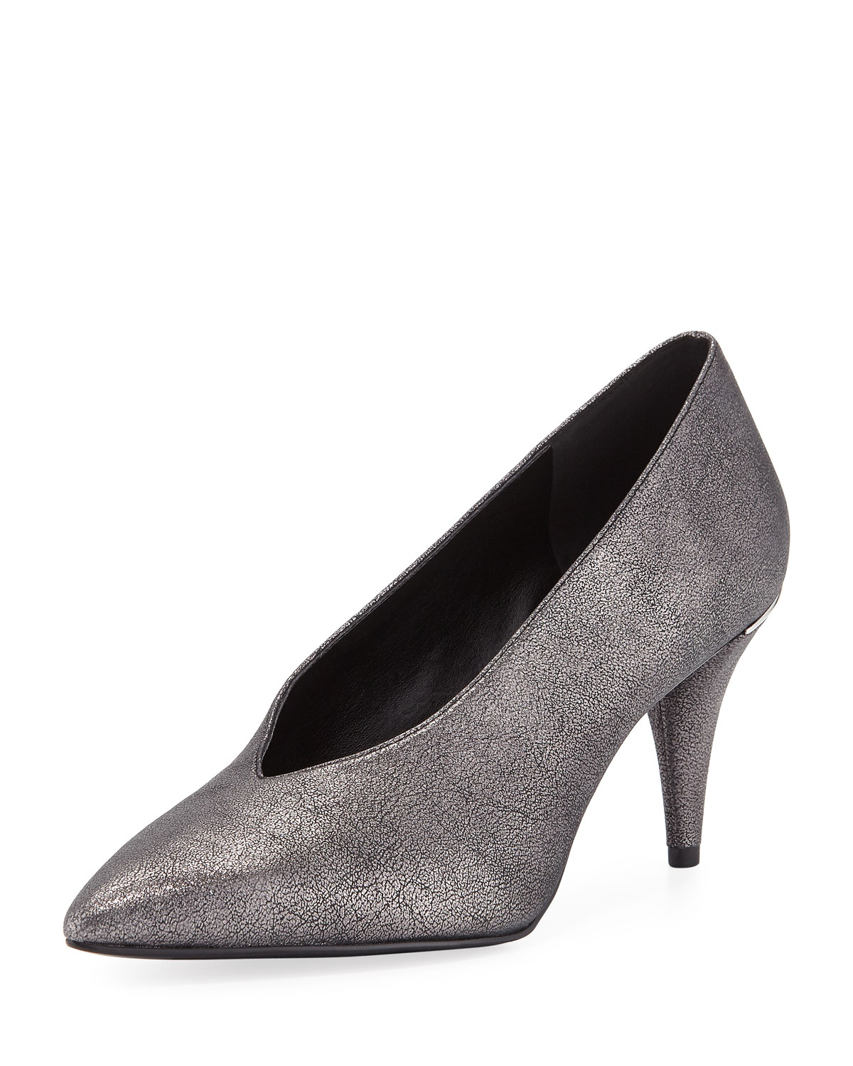 d831756b1852 MICHAEL Michael Kors Lizzy Mid-Heel Choked-Up Sueded Metallic Pumps ...