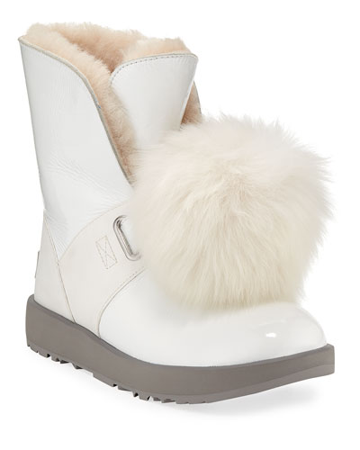 Isley Waterproof Patent Boots with Shearling Pompom