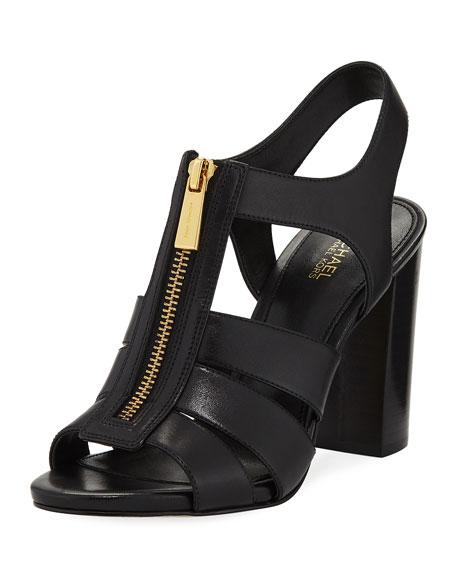 MICHAEL Michael Kors Damita Front-Zip Leather Block-Heel Sandal