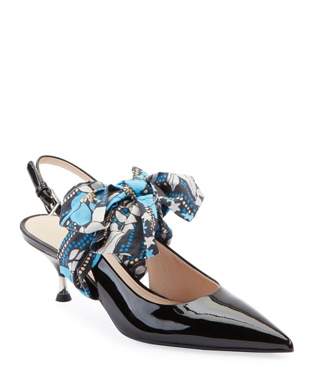 Prada Patent Slingback Pumps with Bow