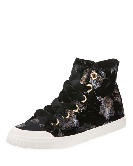 Marley Lace-Up Velvet Rubber High-Top Sneakers, Black/White