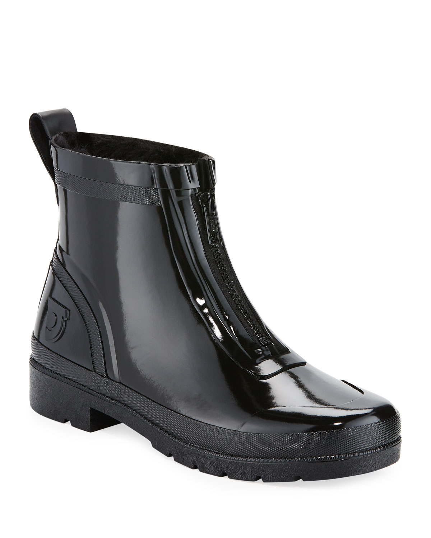 Tretorn Lina Zip Short Shiny Rubber Rain Boots Neiman Marcus