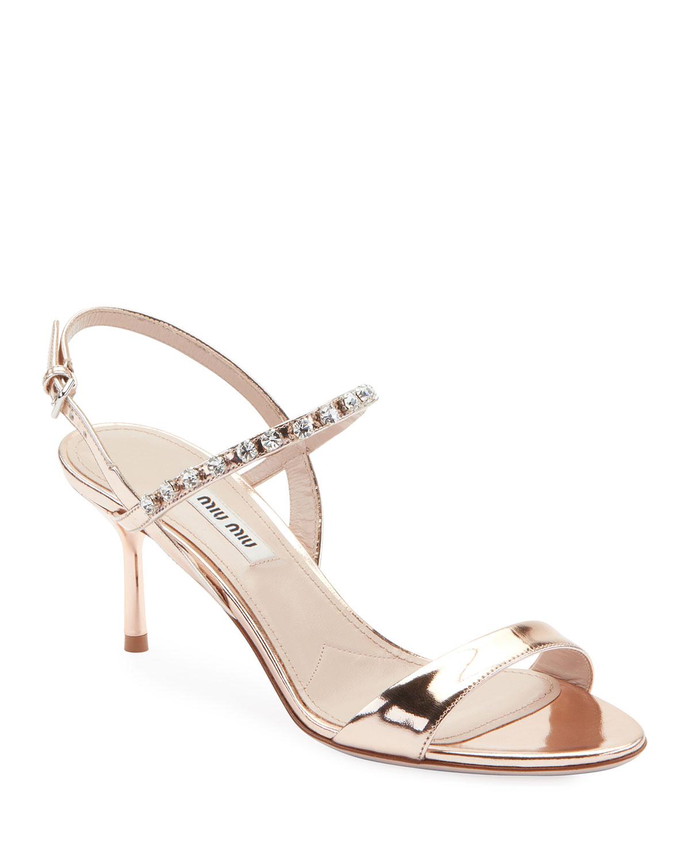 7832116f6dc Miu Miu Metallic Shiny Jeweled Sandals