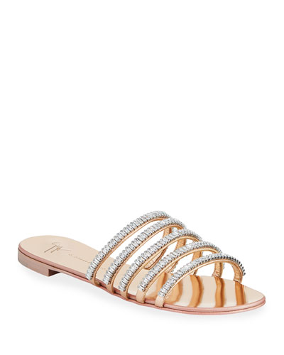 Crystal Metallic Flat Sandals
