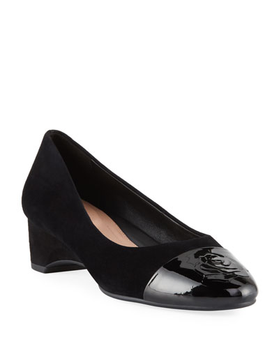 653003cbaf Taryn Rose Babe Patent-Capped Suede Ballet Pumps from Neiman Marcus ...