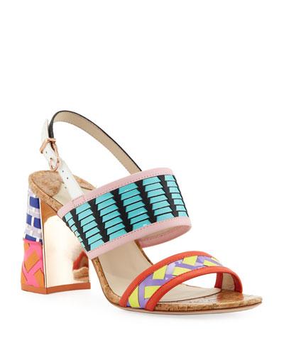 Celia Mid-Heel Colorblock Sandals