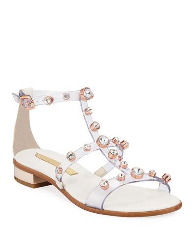 Dina Transparent Crystal-Caged Sandals