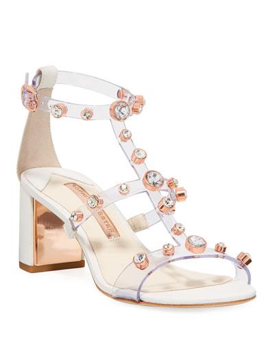 Dina Crystal-Stud See-Through Sandals