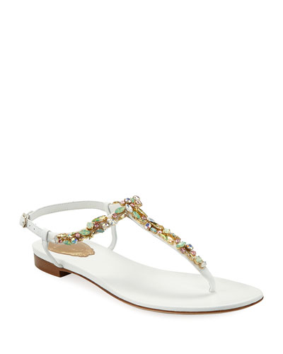 Jeweled Flat Thong Sandals