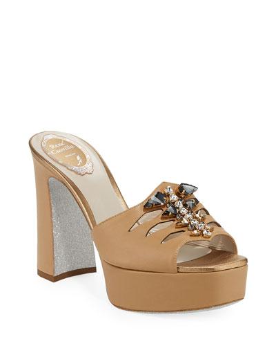 Embellished Leather Platform Slide Sandals