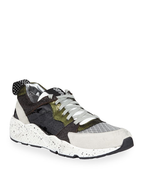 Alex Colorblock Mixed-Media Trainer Sneakers in Olive/ Silver Shine