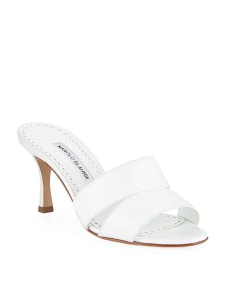 Manolo Blahnik Iacopo Calf Leather Slide Sandals