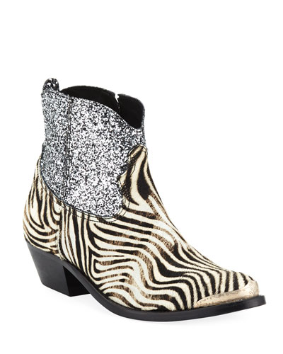 Young Zebra Glitter Western Booties