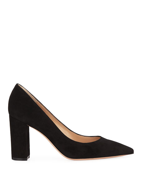 Suede Pointed-Toe Pumps with Chunky Heel