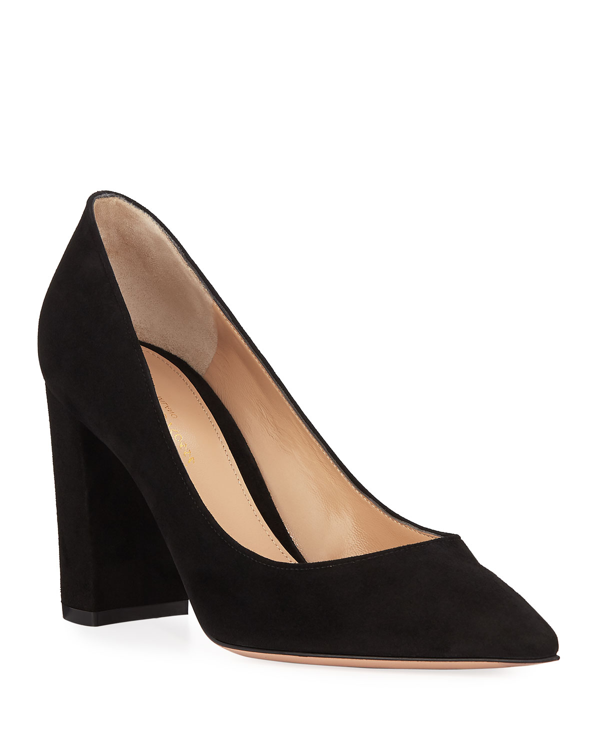 Exact Product: Suede Pointed-Toe Pumps with Chunky Hee, Brand: Gianvito Rossi, Available on: neimanmarcus.com, Price: $695