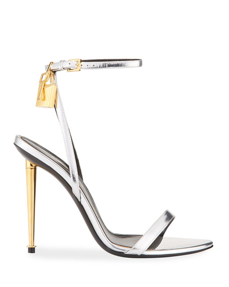 Mixed Metallic Lock Sandals