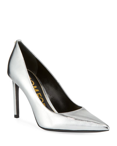 85mm Metallic Leather Point-Toe Pumps