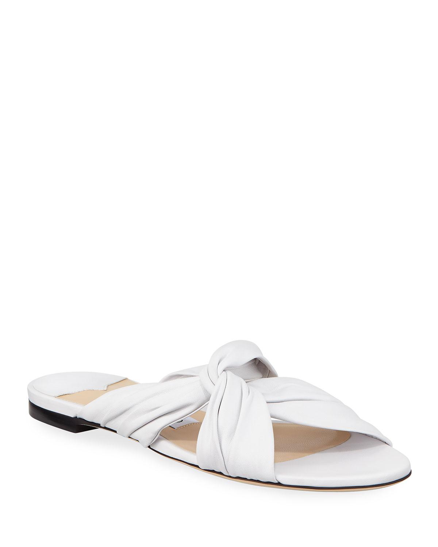 fa3fb0345517 Jimmy Choo Lela Flat Napa Leather Slide Sandals