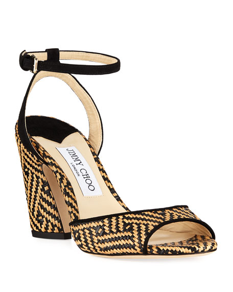 Jimmy Choo Miranda Two-Tone Raffia Sandals