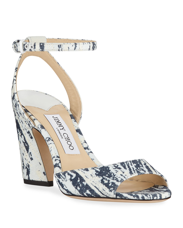 c6f57ea50a4 Jimmy Choo Miranda Bleached Denim Sandals